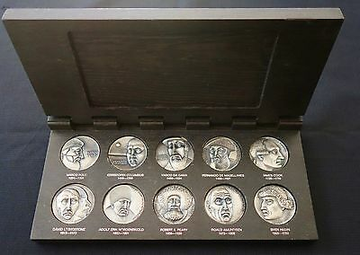 Early Silver Medal Set - Ten Great Explorers - By Kauko Rasanen 1973