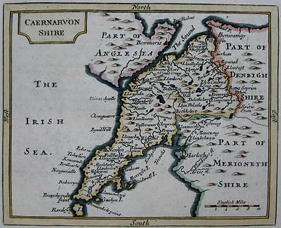 CAERNARVONSHIRE  BY JOHN SELLER AND FRANCIS GROSE GENUINE ANTIQUE MAP  c1787