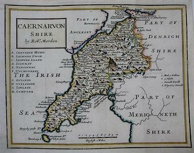 WALES  CAERNARVONSHIRE CAERNARVON  BY ROBERT MORDEN GENUINE ANTIQUE MAP c1704
