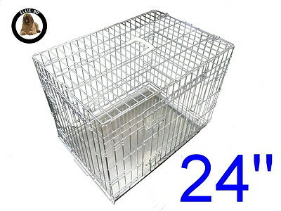 """Ellie-Bo 24"""" Small Dog Puppy Pet Cage Folding Carrier Crate In Silver"""