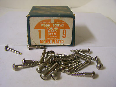 "#9 x 1"" Nickel Plated Wood Screws Round Head Slotted Made in USA - Qty. 130"