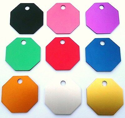 Dog pet tags Quality 28mm Octagon Shaped PET ID Tag ENGRAVED FREE on Both Sides