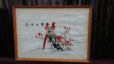 Large Vintage Oriental Embroidery on Silk.bird of paradise  art antique picture