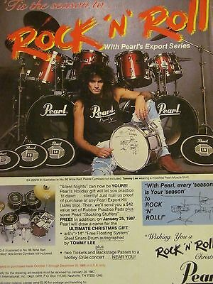 Tommy Lee, Motley Crue, Pearl Drums, Full Page Vintage Promotional Ad
