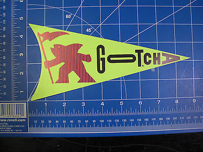 vtg 1980s Gotcha Flag Surf Paper clothing sticker green