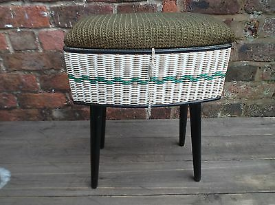 Vintage Mid Century Woven Sewing Work Box With Screw On Legs .