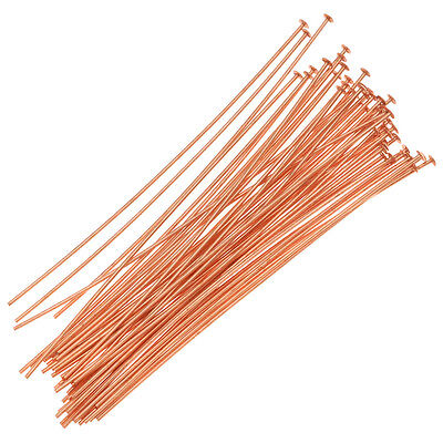 Head Pins, 2 Inches Long and 24 Gauge Thick, 50 Pcs, Copper