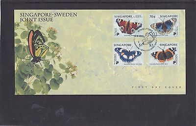 Singapore 1999 Butterflies First Day Cover FDC joint issue with Sweden