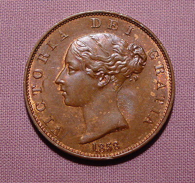1858 QUEEN VICTORIA COPPER HALFPENNY - near UNC With Lustre