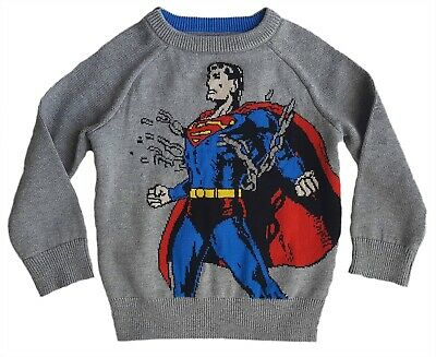 JUNK FOOD  Baby GAP Boys GREY Knitted Superman Jumper Top 12-18m 18-24m £24.95