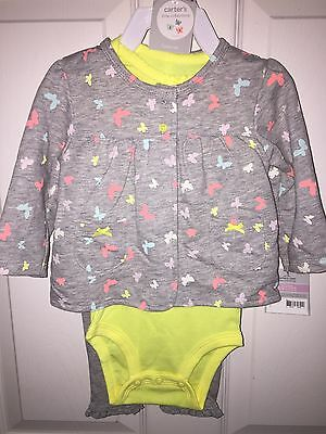 New 9 Months Lot Carters Bodysuit And Pants Jacket 3 Piece Set Gray Yellow Grey