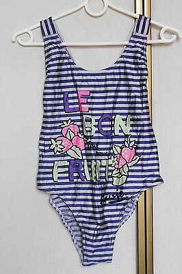 Vintage 80s 90s Neon Fruit Print Nautical Striped Swimsuit M