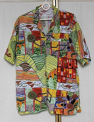 Vintage 80s Crazy Abstract Print Blouse Shirt Top M/L
