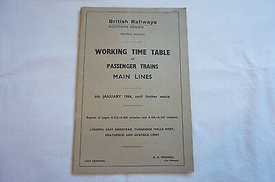 1964 Working Timetable Southern Region Sect A London Central District Main Lines