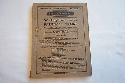 1949 BR Working Timetable Southern Region London Central Division Section A