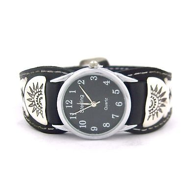 Frank Armstrong Sterling Silver & Black Leather Men's Watch --- W58 T