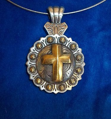 Necklace Cowgirl Western Choker Chunky pendant Concho Christian CROSS gold coppe