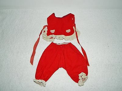 Vintage Terri Lee Tagged Red Shirt Top & Pants w/ White Lace Trim Outfit