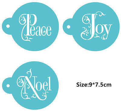 3 Pcs Packed Peace Joy Cookie Cake Stencil Decorate Mould Fondant Biscuit Tool