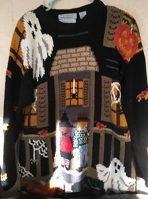 Vintage Signature by Northern Isles Hand Knit Halloween Sweater Haunted House