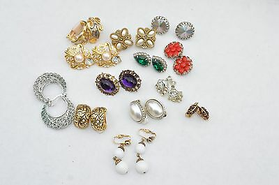 13 Sets of Vtg Earrings ''Victorian Styles'' Rhinestones*Red ruby glass etc