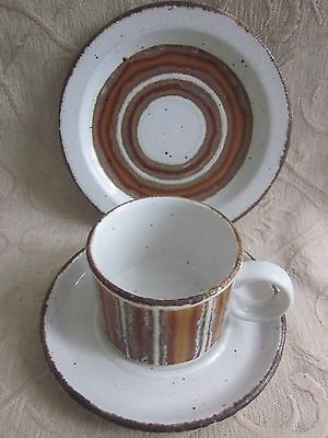 vintage 1970s MIDWINTER stoneware EARTH trio CUP, SAUCER & PLATE