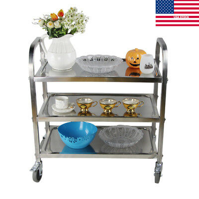 3 Shelf Kitchen Stainless Steel Serving Cart Utility Office Commercial Catering