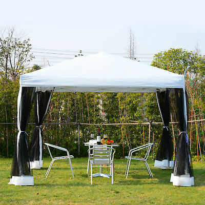 10x10ft Pop Up Wedding Party Tent Canopy w/ Mesh Curtain w/ Carry Bag White