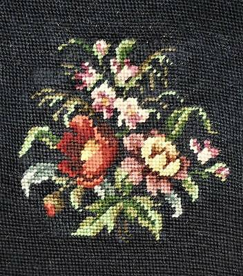 Vintage Antique Floral & Black Pillow Top Finished Completed Wool Needlepoint