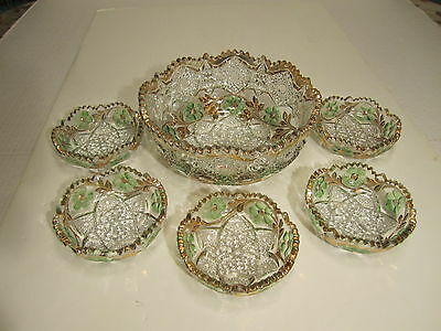Beautiful Antique Colored EAPG 6 Piece Berry Set