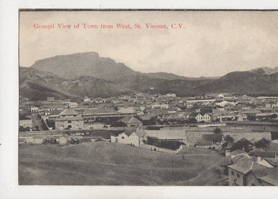 General View Of Town From West St Vincent Cape Verde Vintage Postcard 393b
