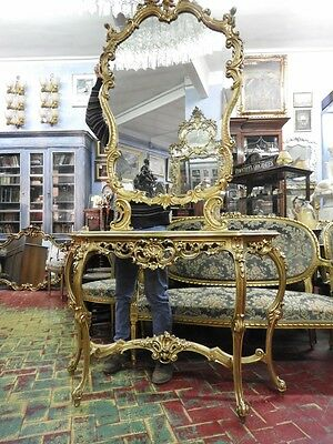 Beautiful Antique Console Period Wood Golden With Great Mirror Xx Sec