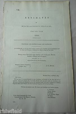 1825 Expenditure Estimates Holyhead & Howth Roads and Harbours