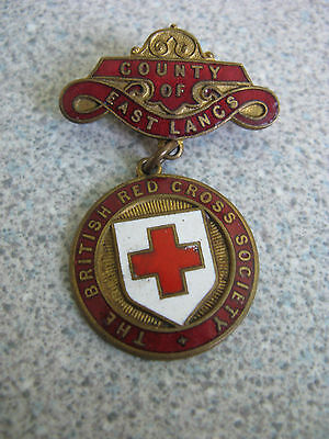 Vintage County Of East Lancs Red Cross Society Enamel Badge