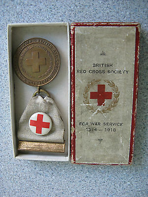 Ww1 British Red Cross Society War Service Medal Boxed