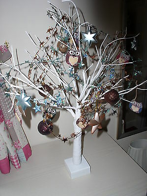 Stunning Bronze And Turquoise Themed Wired Twig Tree Featuring Owls And Stars