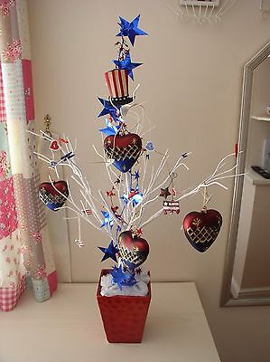 Stunning Americana Wired Twig Tree Christmas Or Independence Day