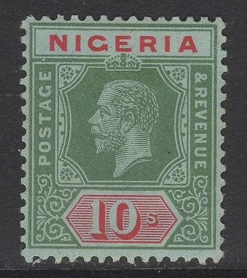 NIGERIA SG11b 1917 10/= GREEN & RED PALE OLIVE BACK WITH CERT LIGHT CREASE MINT