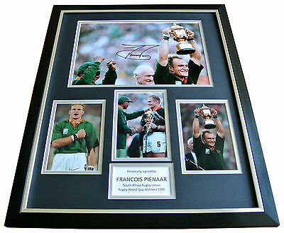 FRANCOIS PIENAAR Signed FRAMED Huge Photo Autograph Display RUGBY S AFRICA COA