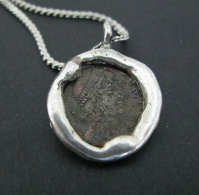 NILE  Ancient Egyptian Amulet Coin Pendant Silver Necklace ca 100 AD