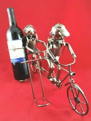Backpacking Children On Tandem Bicycle Hand Made Metal Wine Bottle Holder Caddy