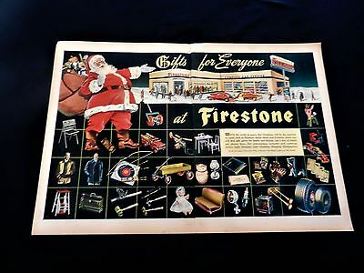 "Original 1945 ""firestone Tires"" Santa Claus Christmas Two Page Art Print Ad"