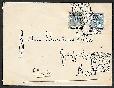 Netherlands Indies covers 1905 uprated coverWeltevreden to Bern