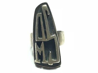 HUGE Vintage Ladies Solid Sterling Silver Tribal Ring - Size 5 - FREE SHIPPING!!