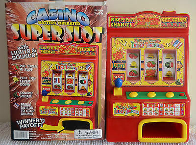 "Battery Operated CASINO SUPER SLOT MACHINE Bar TOY Light & Sound 13"" TABLETOP"