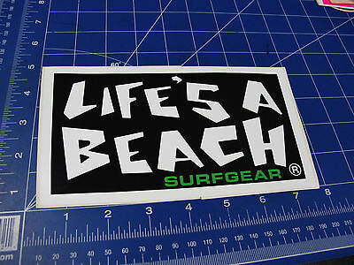 Vintage* 1980's Life's a Beach Surfgear Surf sticker LG green letter BBC