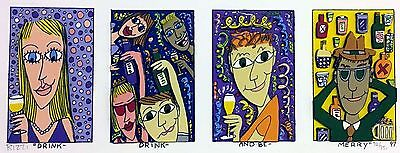 James Rizzi » Drink Drink And Be Merry « Seltenes 3D aus 1997 (gerahmt)