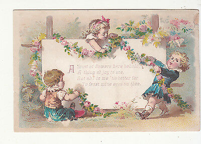 A Feast of Flowers Verse Garland Sign  Victorian Card c 1880s