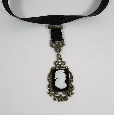 1900s  Cameo Necklace, Fob, Athena, Black Glass, Marcasites, Celluloid