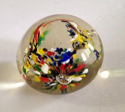 Vintage Glass Paperweight Abstract Flowers Design